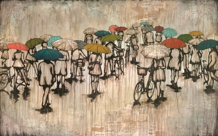 Umbrellas and Bicycles by Kendra Runnels art print