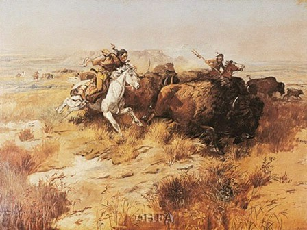 Indian Buffalo Hunt by Charles M. Russell art print