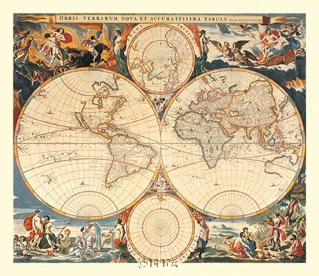 World Map by Nicholas Visscher art print