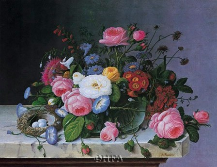 Still Life with Flowers and Bird Nest by Severin Roesen art print