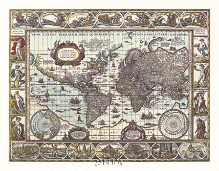 Map of the World by Willem Jan Blaeuw art print