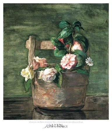 Camellias & Roses in Japanese Vase by John La Farge art print