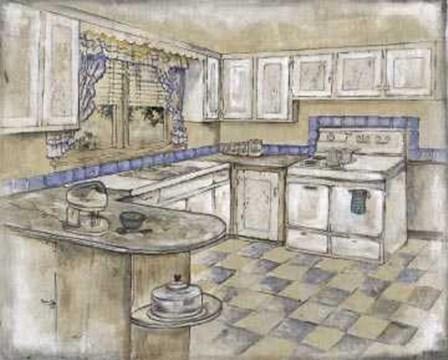 Mid Century Kitchen II (Sm) by Ruth Bush art print