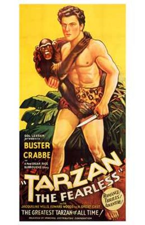 Tarzan the Fearless, c.1933 - Buster Crabbe art print