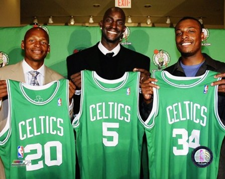 Ray Allen, Kevin Garnett and Paul Pierce 2007 Press Conference art print