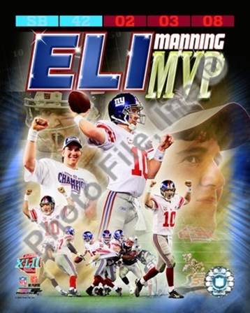 Eli Manning SuperBowl XLII MVP Portrait Plus art print