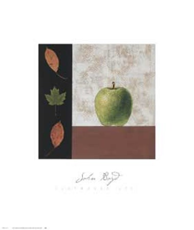 Green Apple and Leaves by John Boyd art print