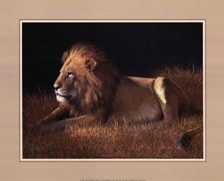 Lying Lion by W. Michael Frye art print