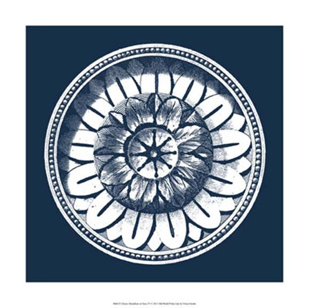 Classic Medallion on Navy IV by Vision Studio art print