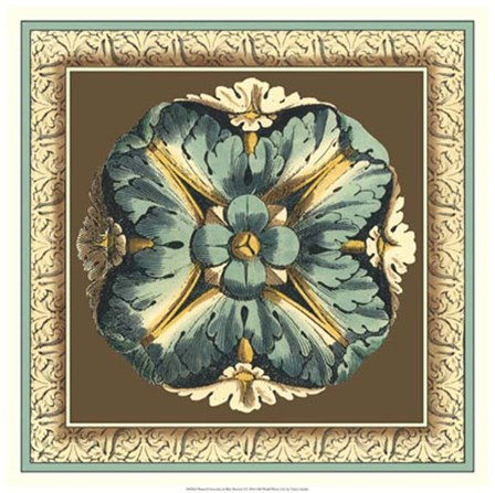 Printed Chocolate & Blue Rosette I by Vision Studio art print