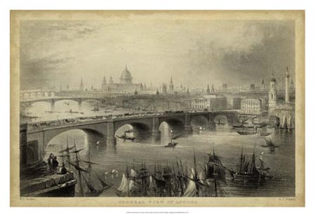 General View of London by W. H. Bartlett art print