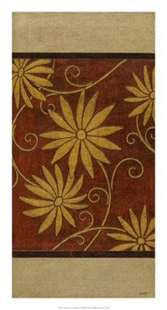 Gold Daisies on Mahogany I by Norman Wyatt Jr. art print