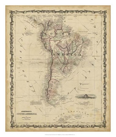 Johnson's Map of South America by Scott Johnson art print