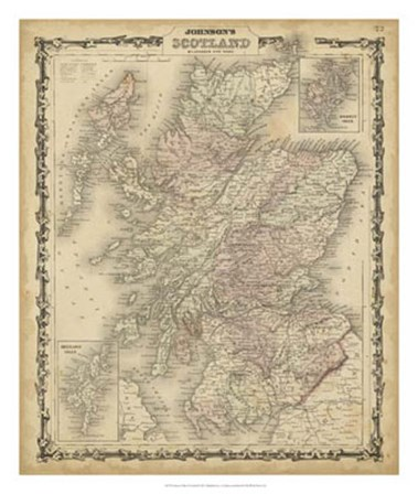 Johnson's Map of Scotland by Scott Johnson art print