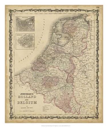 Johnson's Map of Holland & Belgium by Scott Johnson art print
