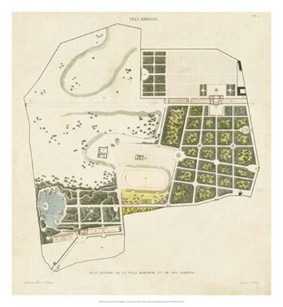 Plan General de la Villa Borghese by Victor Baltard art print