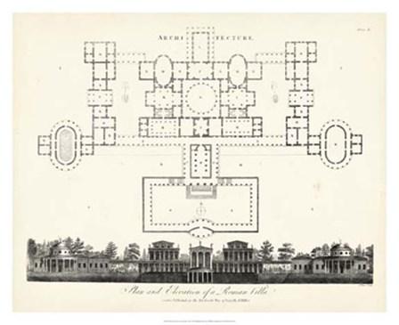 Plan & Elevation for a Roman Villa by J. Wilkes art print