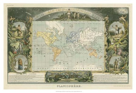 1885 Planisphere of the World art print