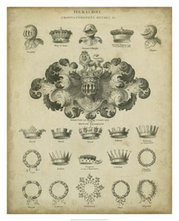 Heraldic Crowns & Coronets I by David Milton art print