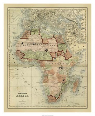 Antique Map of Africa by Scott Johnson art print