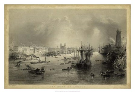 The Port of London by W. H. Bartlett art print