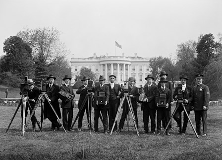 Press Correspondents and Photographers on White House Lawn by Print Collection art print