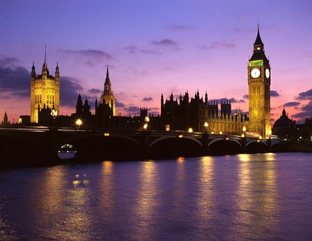 Big Ben, Houses of Parliament and the River Thames at Dusk, London, England by Howie Garber / Danita Delimont art print