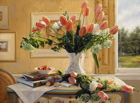 French Tulips and Crab Apples by Robin Anderson art print