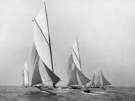Saliboats Sailing Downwind, ca. 1900-1920 by Edwin Levick art print