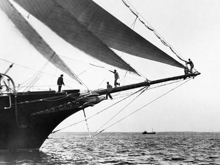Ship Crewmen Standing on the Bowsprit, 1923 by Edwin Levick art print