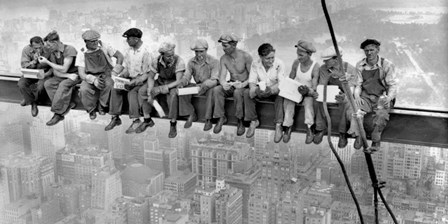 New York Construction Workers Lunching on a Crossbeam, 1932 (detail) by Charles C. Ebbets art print