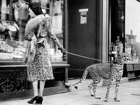 Elegant Woman with Cheetah art print