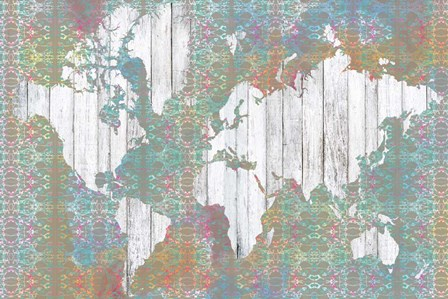 Boho Map I by Jennifer Goldberger art print
