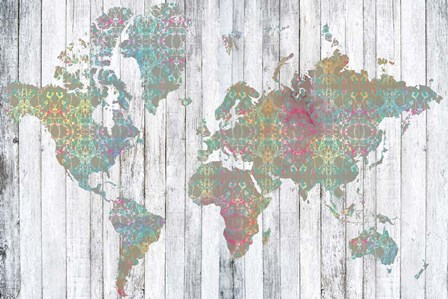 Boho Map II by Jennifer Goldberger art print