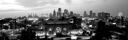 Union Station at sunset with city skyline in background, Kansas City, Missouri BW by Panoramic Images art print