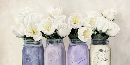 Tulips in Mason Jars (detail) by Jenny Thomlinson art print