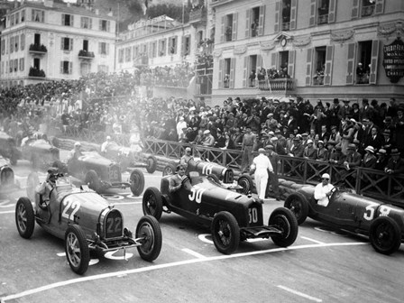 Le depart du Grand Prix de Monaco 1932 by Charles Delius art print