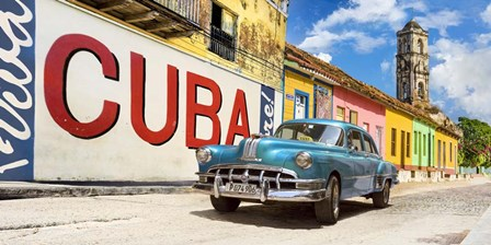 Vintage Car and Mural, Cuba by Pangea Images art print