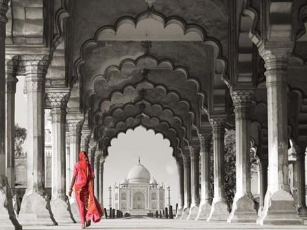 Woman in traditional Sari walking towards Taj Mahal (BW) by Pangea Images art print
