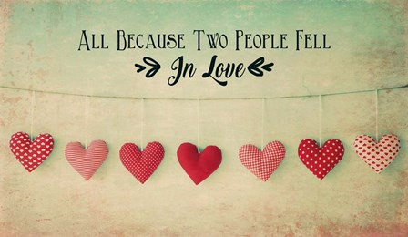 Two People Fell in Love Cotton Hearts by Quote Master art print
