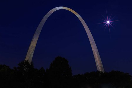St. Louis Arch With Starburst Moon by Galloimages Online art print
