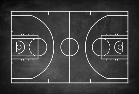 Basketball Court Chalkboard Background by Sports Mania art print