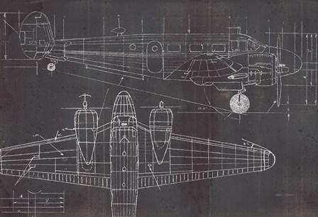 Plane Blueprint I No Words Post by Marco Fabiano art print