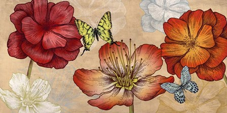 Flowers and Butterflies (Neutral) by Eve C. Grant art print