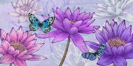 Nympheas and Butterflies by Eve C. Grant art print