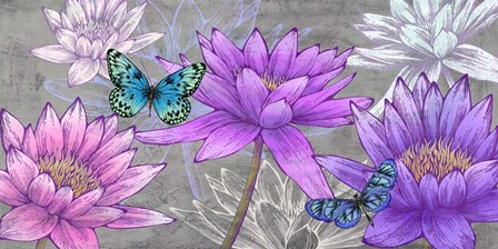 Nympheas and Butterflies (Ash) by Eve C. Grant art print