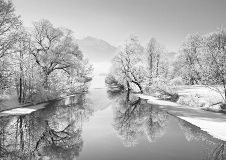 Winter landscape at Loisach, Germany (BW) by Frank Krahmer art print