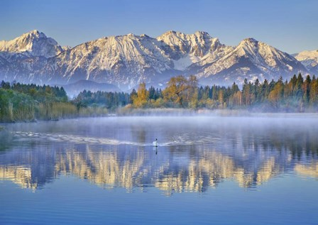 Allgaeu Alps and Hopfensee lake, Bavaria, Germany by Frank Krahmer art print