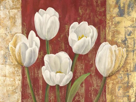 Tulips on Royal Red by Jenny Thomlinson art print