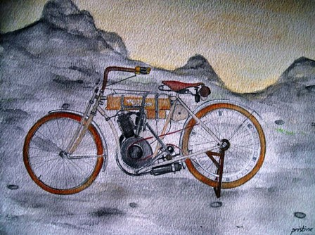 Harley Davidson Bike 1907 by Prisarts art print